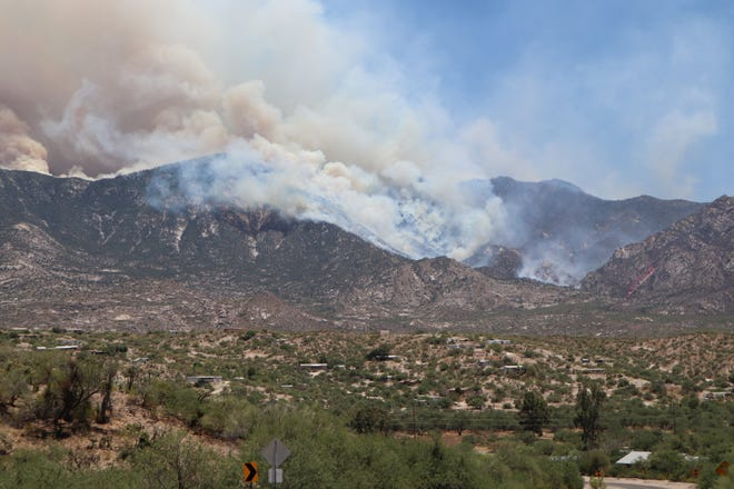 The Bighorn Fire in the Catalina Mountains can be seen burning from Wilds Road on June 17, 2020.