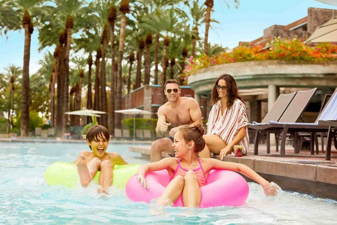 Families can create memories together as they enjoy the many amenities and recreational options available at this 27-acre resort.