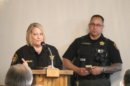 Lisa Radloff, of the Ottawa County Sheriff's Office, was awarded Deputy of the Year from the Kiwanis Club of Port Clinton on Wednesday.