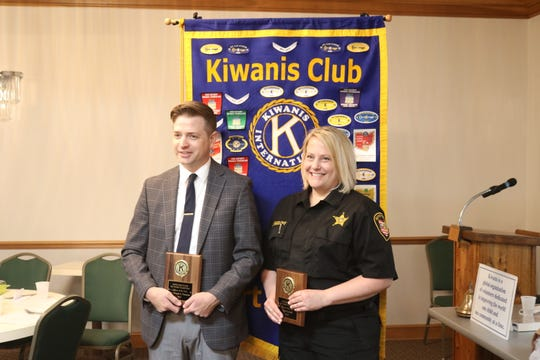 Detective Ron Timmons, of the Port Clinton Police Department, and Deputy Lisa Radloff, of the Ottawa County Sheriff's Office, were both honored by the local Kiwanis Club on Wednesday.