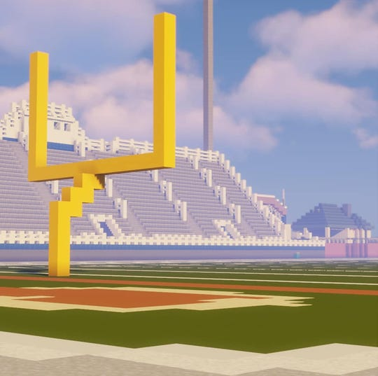 A preview of what the virtual Trojan Stadium will look like in the Chambersburg virtual commencement on Minecraft, taking place June 25.