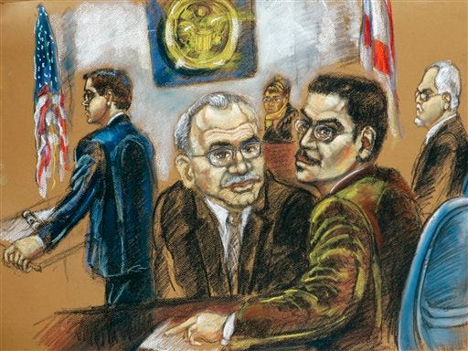 File Photo: This courtroom drawing shows Assistant U.S. Attorney Brian Frazier, left, and defendants Adham Amin Hassoun, second from left, Jose Padilla, center, and Kifah Wael Jayyousi, far right, on the opening day of their terrorism conspiracy trial in federal court in Miami, May 14, 2007.