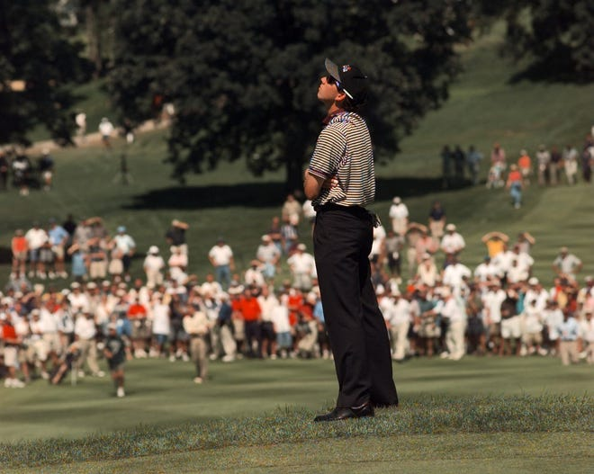 Sergio Garcia looks skyward during his semifinal match at the 1998 U.S. Amateur at Oak Hill.