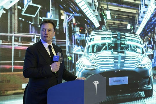 Tesla CEO Elon Musk at Tesla's factory in Shanghai, China on Jan. 7. The Del Valle Independent School District is offering Tesla an incentives agreement in an attempt to lure the company's next assembly plant to the Austin area.