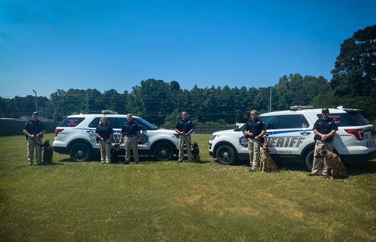 Local businesses donated new collars and badges to Caddo Parish Sheriff K-9s on Wednesday, June 17, 2020.