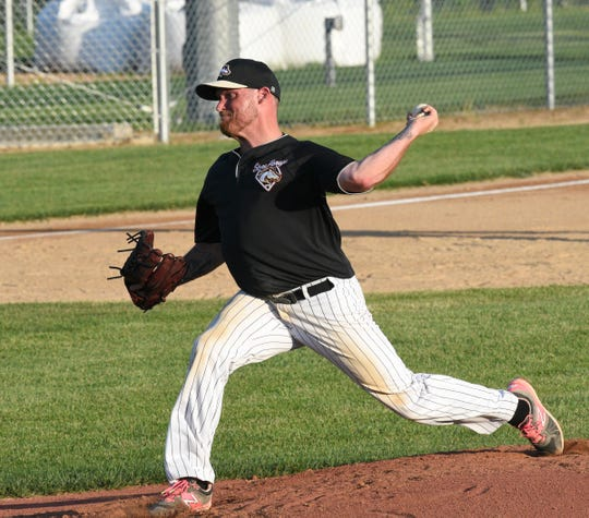 Sartell Stone Poneys pitcher Jeff Amann pitches in the first inning against the Becker Bandits Wednesday, June 17, 2020, at St. Cloud Orthopedics Field in Sartell.