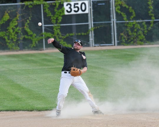 Sartell Stone Poneys infielder Pat Dolan makes a throw Wednesday, June 17, 2020, at St. Cloud Orthopedics Field in Sartell.