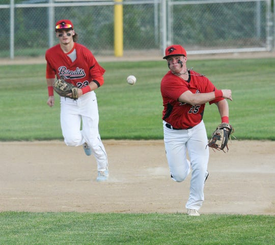 Becker Bandits infielder Dalton Fouquette makes a throw to first Wednesday, June 17, 2020, at St. Cloud Orthopedics Field in Sartell. The Bandits won 13-4.