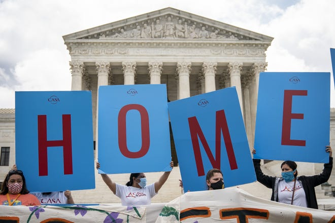 WASHINGTON, DC - JUNE 18: DACA recipients and their supporters rally outside the U.S. Supreme Court on June 18, 2020 in Washington, DC. On Thursday morning, the Supreme Court, in a 5-4 decision, denied the Trump administration's attempt to end DACA, the Deferred Action for Childhood Arrivals program.
