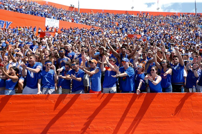 Florida Gators fans cheer in the student section against Tennessee during a 2019 game at Ben Hill Griffin Stadium.