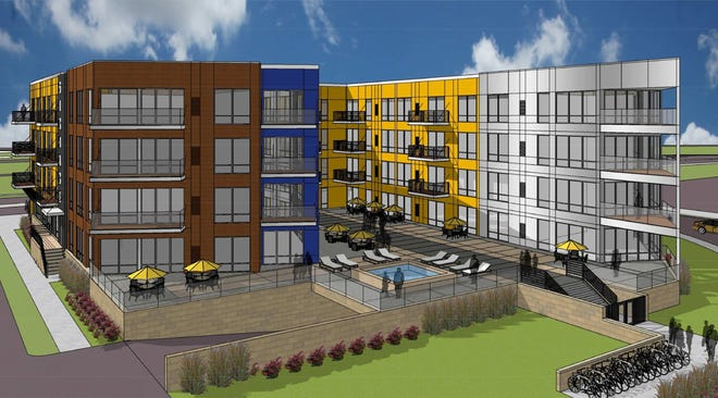 A rendering shows the proposed 71-unit apartment complex planned for the west end of downtown Neenah. The view is from Arrowhead Park.