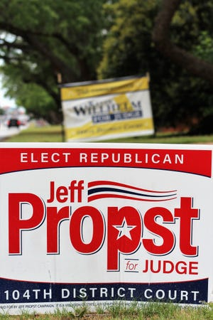 Signs, small and large, for 104th District Court candidates Jeff Propst and Kevin Willhelm have been in place for close to four months since the March 3 Republican primary. The runoff is scheduled for July 14. Propst won the most votes in the primary.