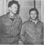 Robert C. Johnston, left, and Irving Weisman, director of the Southern Tier Community Party in 1947.