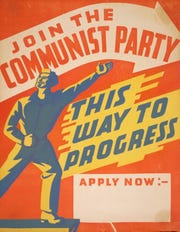 One of the recruiting posters for the Community Party in the United States in the 1940s and 1950s.