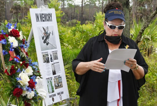 Barbara Dunn Storz of DeLand Naval Air Station Museum, tells about of the crew members. Officials dedicated a memorial plaque to the seven crew members of a World War II bomber who died in a routine training crash in June of 1943 in what is now the Tosohatchee Wildlife Management Area, in Orange County, near Christmas.