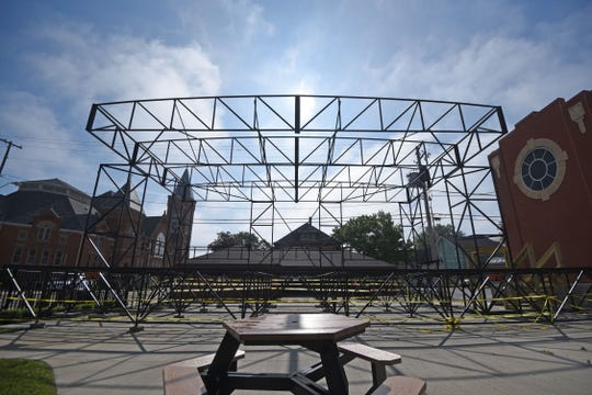 The stage at Schines Art Park was nearly complete in downtown Bucyrus on Friday.