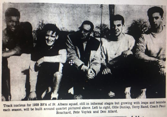Ollie Dunlap, far left, poses with BFA teammates from their 1959 track and field.