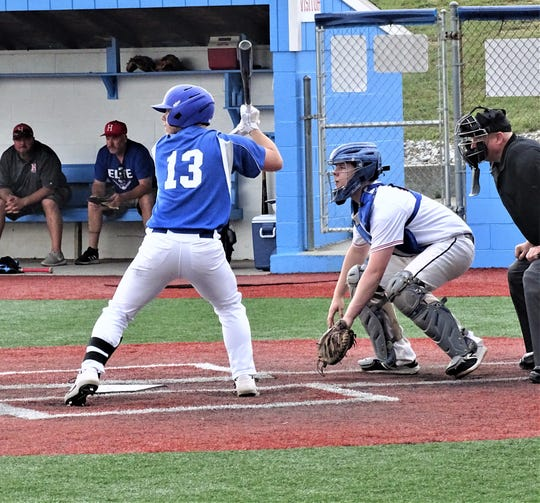Lancaster Post 11's Nick Congrove, a Liberty Union graduate, gets set to hit during Thursday's Beavers Dam Wood Bat Tournament at Beavers Field.