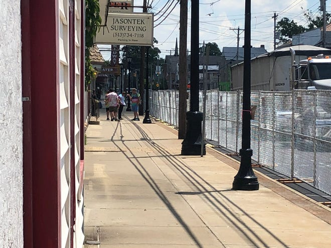 Fencing has been put up between the sidewalk and streets in Bethel Friday ahead of a Friday Black Lives Matter protest.