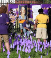 Members of SEIU and community members gathered on East Grand Boulevard to pay respects nursing home residents staff members who died from the COVID-19 virus.  1,900 purple flags were placed at the site to represent those who passed from the virus on June 18, 2020. Kym Worthy the Wayne County prosecutor was in attendance listening to speakers.