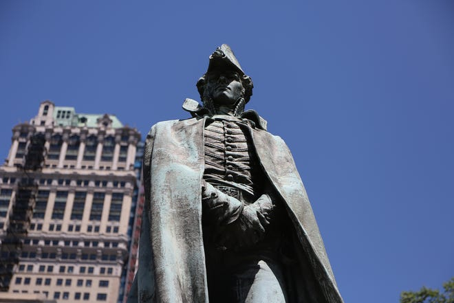 The Alexander Macomb Monument at the corner of Michigan Avenue and Washington Boulevard in Detroit. Photographed on Wednesday, June 17, 2020.