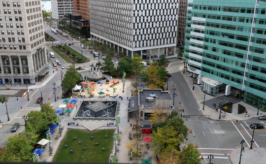 View to Campus Martius from Quicken Loans Compuware office in Detroit on October 10, 2014.