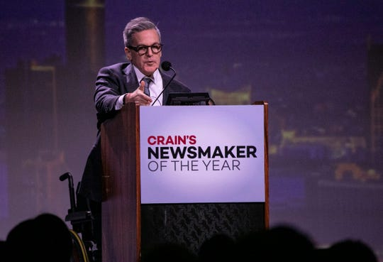 Detroit businessman Dan Gilbert was awarded Crain's Newsmaker of the Year award at the Grand Ballroom at the MGM on Feb. 21, 2020.