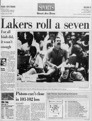 Detroit Free Press sports front page June 20, 1988.