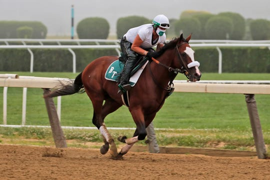 Tiz the Law goes for a workout run at Belmont Park on Friday.