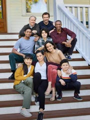COUNCIL OF DADS -- Season: 1 -- Pictured: (l-r) Steven Silver as Evan Norris, Thalia Tran as Charlotte Perry, Michael O'Neill as Larry Mills, Michele Weaver as Luly Perry, Emjay Anthony as Theo Perry, Clive Standen as Anthony Lavelle, Sarah Wayne Callies as Robin Perry, J. August Richards as Dr. Oliver Post, Blue Chapman as JJ Perry -- (Photo by: Jeff Lipsky/NBC)