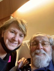 After 70 days apart, Becky Beckerson sees her husband, Rich Beckerson, for the first time in the hospital on June 4, 2020.