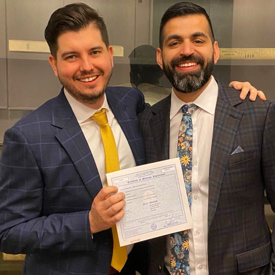 Brett Beckerson, left, and Josh Alvarez got married on March 13, sharing that wedding anniversary date with Brett's parents, Rich and Becky Beckerson.