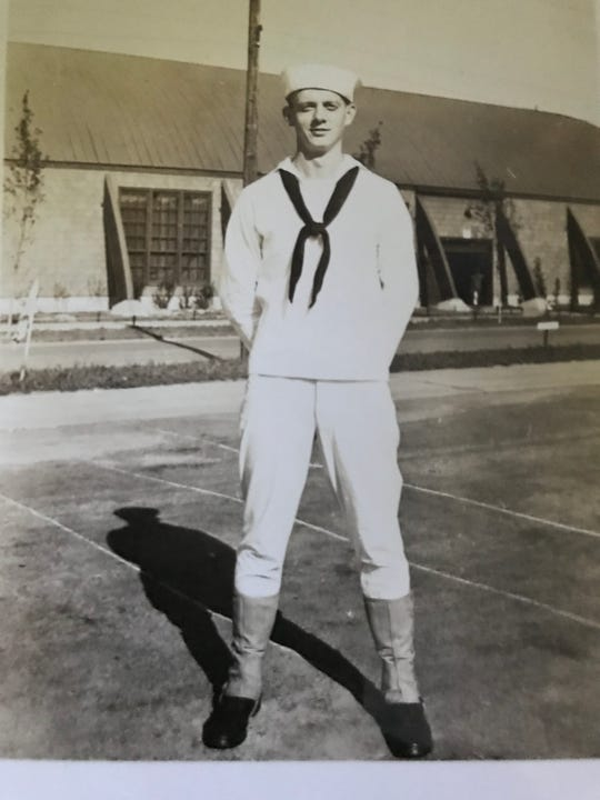 Ralph Probert is pictured when he was in the Navy in the 1940s.