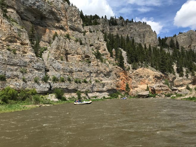 Rafters navigate the Smith River in Montana on June 9, 2020.