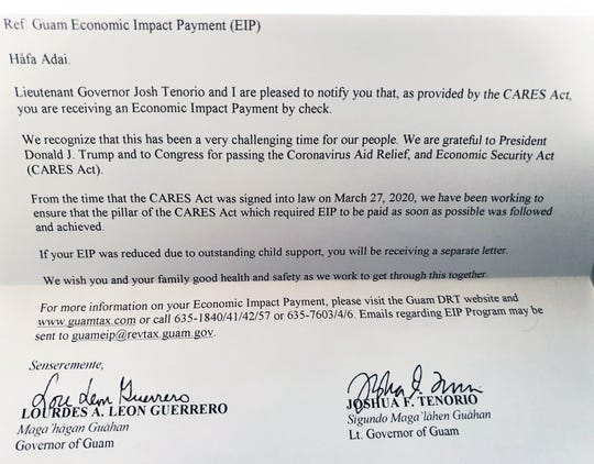 A letter sent by the Department of Revenue and Taxation with a letter from Adelup was sent out to those who received Economic Impact Payment checks