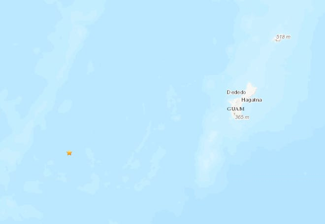 Earthquake recorded on June 20, 2020 near Guam.