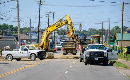 A major water main break on Green Street in Henderson is fixed but the street will remained closed due to the extensive road repairs required to reopen Friday, June 19, 2020.