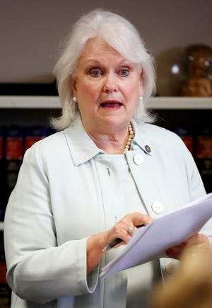 This is a 2015 file photograph of then State Sen. Nancy Collins, R-Tupelo, speaking to members of the Senate Finance Committee at the Capitol in Jackson, Miss. The Senate Education committee on Thursday morning, June 18, 2020 rejected the nomination of Collins, a key ally of Gov. Tate Reeves, to the state board of education.