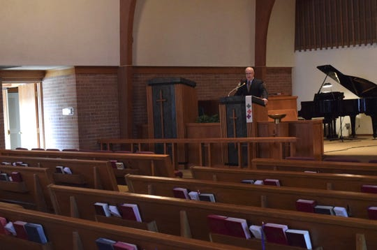 Pastor Steve Rath delivers his sermon at Christ United Methodist Church in Baltimore as it is livestreamed to Facebook and Youtube. The church is one of several local churches that has been streaming services after the state health department's shelter in place order during the coronavirus pandemic.