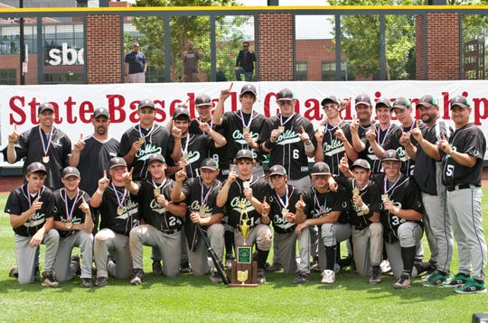 Clear Fork celebrates its 2010 state baseball championship after beating Wheelersburg 14-3 at Huntington Park in Columbus.