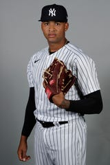 Luis Gil of the New York Yankees during spring training in Tampa, Florida on Feb. 20, 2020,