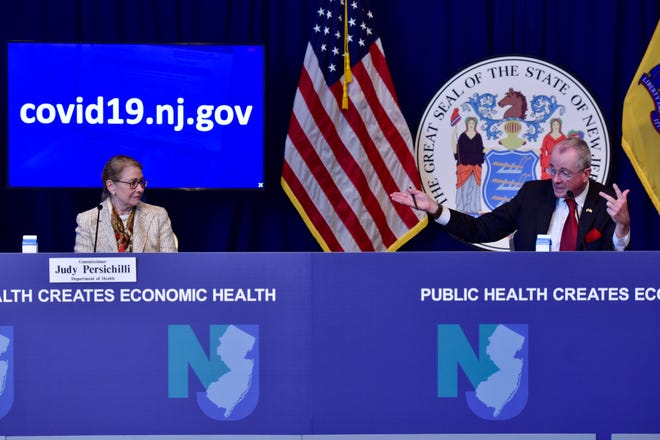 New Jersey Governor Phil Murphy and Commissioner Judy Persichilli, of the New Jersey Department of Health, during the Covid-19 daily news briefing at the War Memorial building in Trenton, N.J. on Friday June 19, 2020. Pool Photography by Tariq Zehawi/USA Today Network