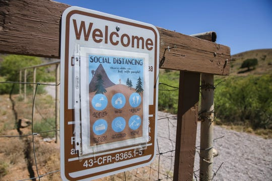 Hiking trails are open for day use at Dripping Springs in Las Cruces on Friday, June 19, 2020, but signs encourage social distancing on trails.