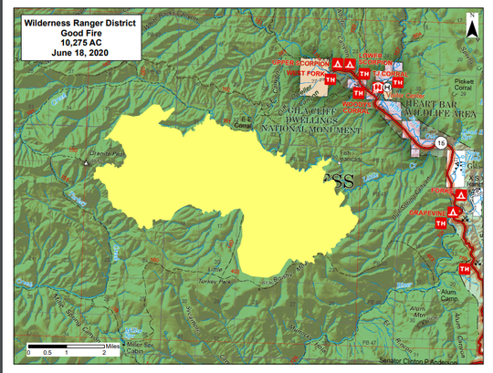 A map of the size and location of the Good Fire in the Gila National Forest on Thursday, June 18, 2020.