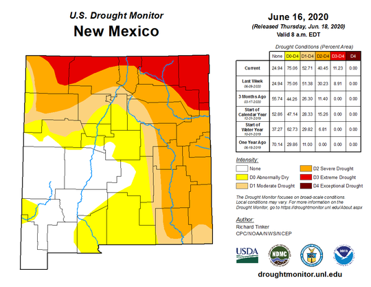 The map shows general drought conditions in New Mexico from data collected on June 16, 2020.