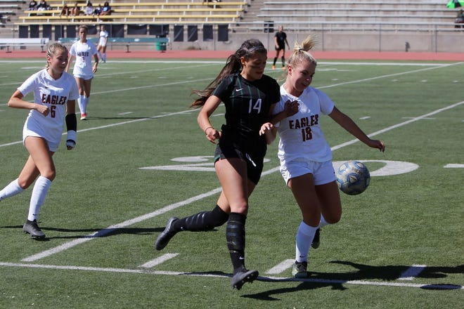 Former Farmington girls soccer player McKenzie Coleman, seen here playing against Eldorado on Saturday, Sept. 29, 2018, at Hutchison Stadium in Farmington, looks to get her tenure at NCAA Division I Villanova University started this fall.