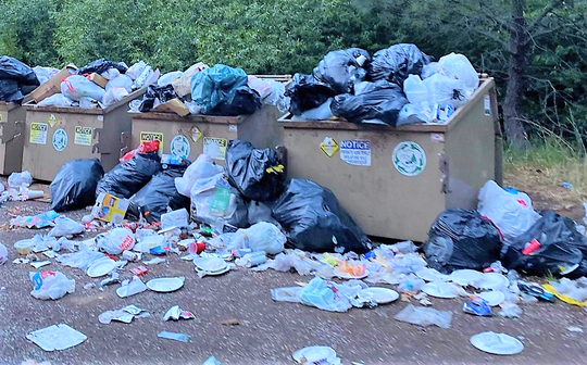 Visitors to Bonito Lake in the Lincoln National Forest left mounds of garbage behind. The rule is to pack it in and take it out. The waste is harmful to wildlife and the environment, and is illegal.