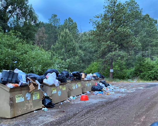 Mounds of garbage left behind at Bonito Lake on June 14, creating harmful conditions for the wildlife and environment.