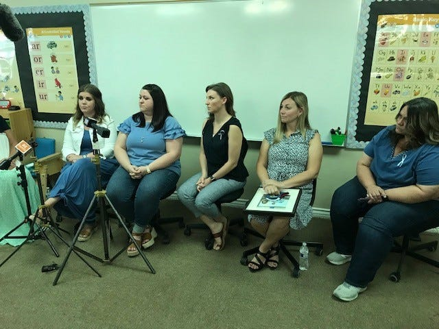 """Teachers and staff who worked with Joshua """"JJ"""" Vallow at Lauren's Institute for Education in Gilbert, share their memories of JJ with media after his memorial Friday morning, June 19, 2020 in his old classroom. JJ and his sister, Tylee Ryan went missing in September last year. Their remains were found this month in Idaho."""