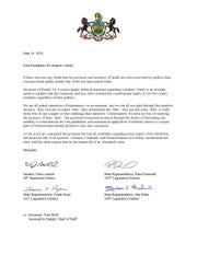 Friday's letter from Lebanon's state officials.